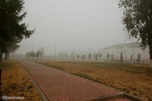 Центральный сквер г.Бронницы в дыму