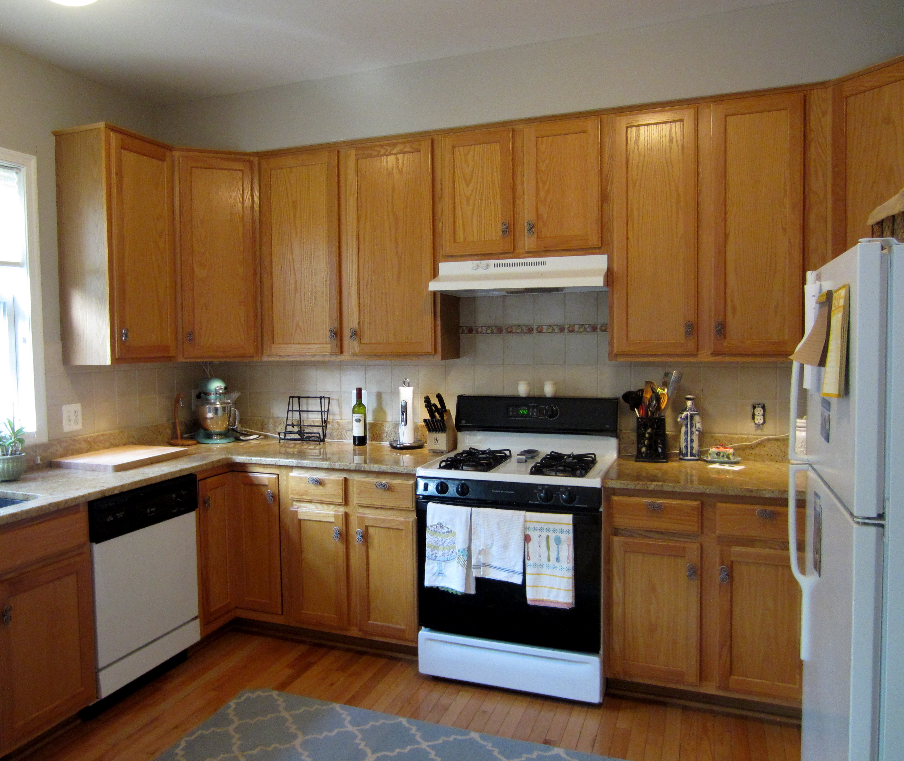 diy staining kitchen cabinets Builder Grade to Grade A