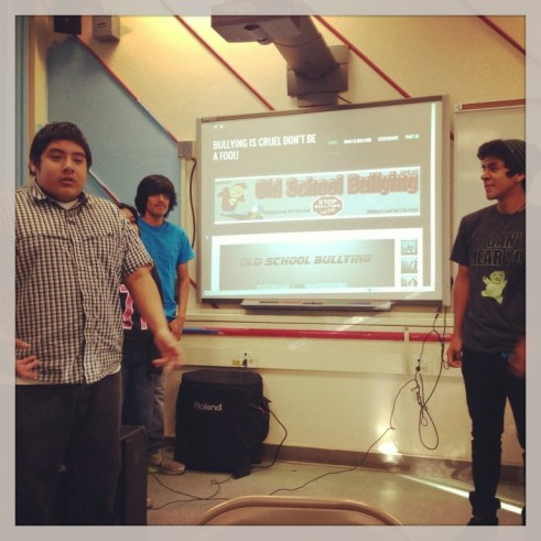 Foshay Learning Center Technology Academy students present their PSA campaign on 'old-school' bullying.