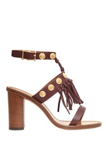 Valentino 85MM Tumbled Leather Fringed Sandals