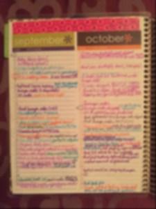 color code, monthly index, erin condren, planner