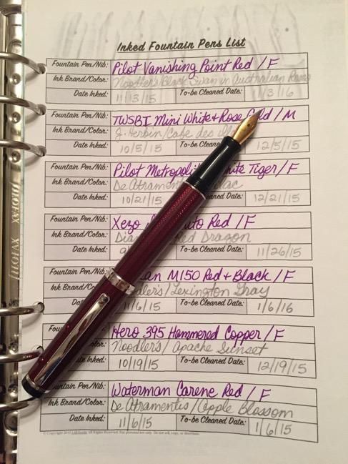 fountain pens, fountain pen inks, Xezo Incognito fountain pen, free planner insert, free planner download