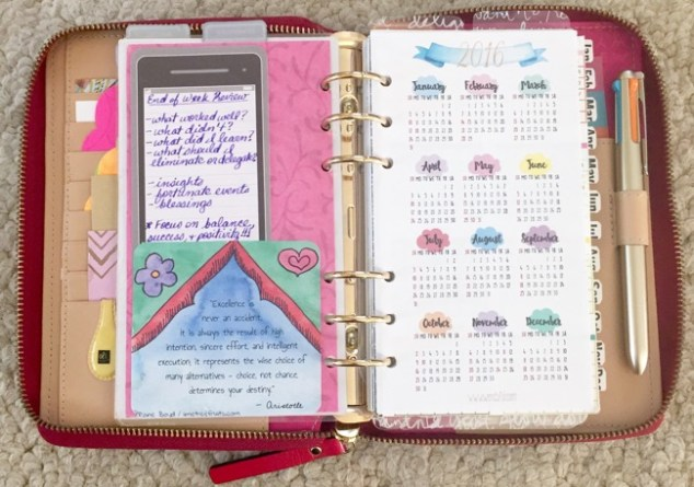 planner, planner setup, kate spade, wellesly, gold coleto pen, year-at-a-glance