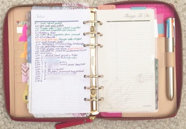 planner, planner setup, kate spade, wellesly, gold coleto pen, monthly index log