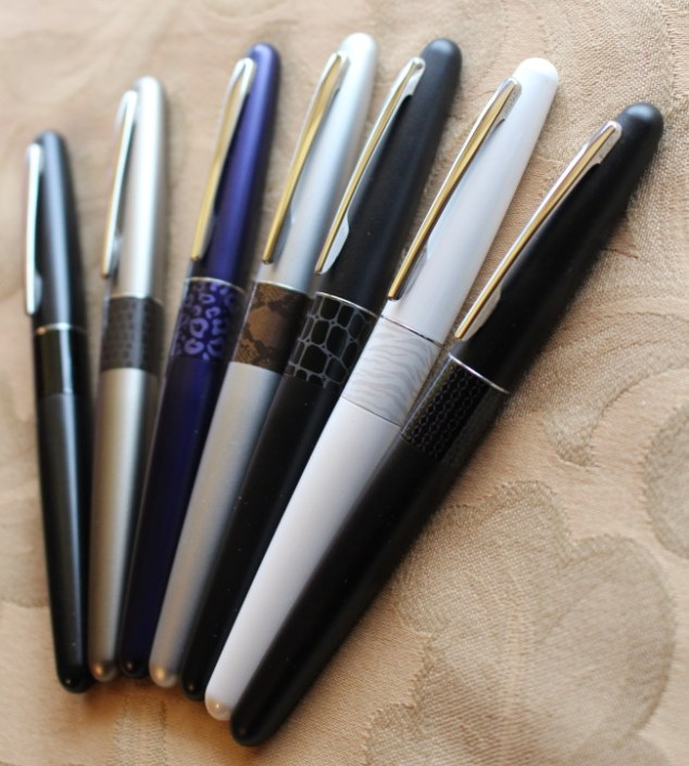 fountain pen, Pilot metropolitan, pilot metropolitan animal collection, white tiger, violet leopard, bronze lizard, silver python, black crocodile, black zig zag, black plain, fpgeek