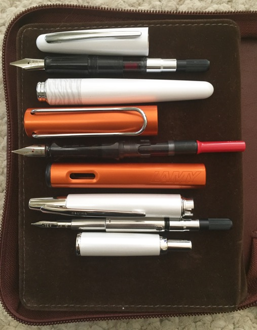 Cartridge converter pens (T-B: Pilot Metropolitan, Lamy Al-Star, Pilot Decimo)