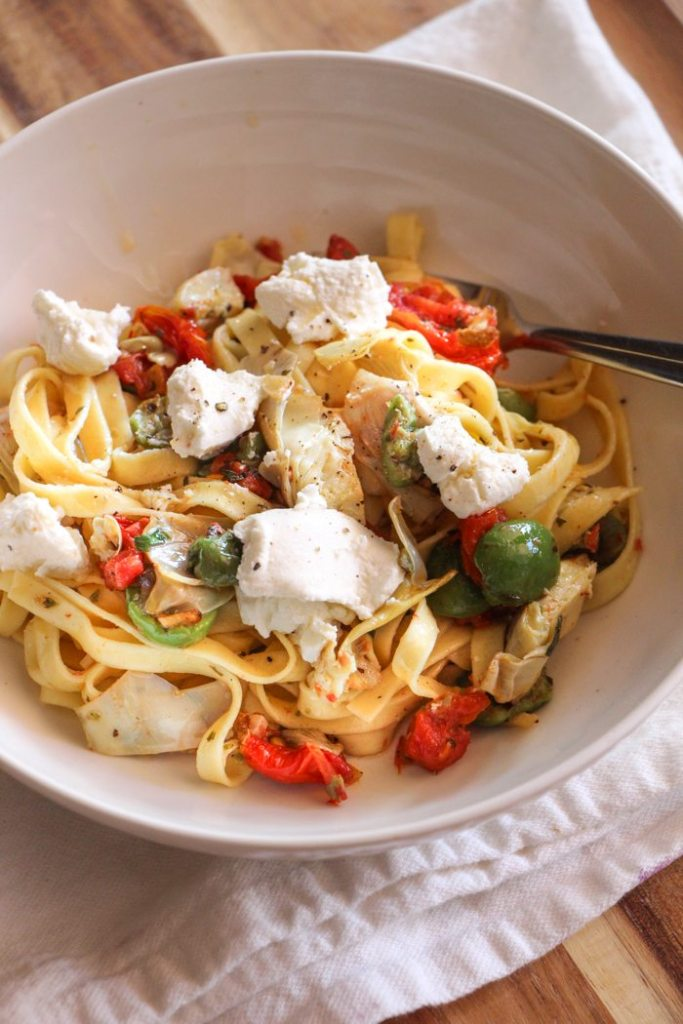 Tagliatelle with Artichokes, Tomatoes, Olives and Ricotta