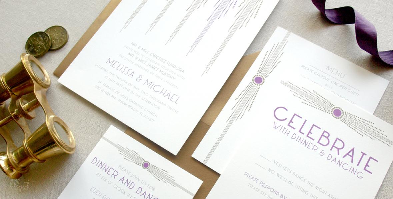 Wedding Invitations | Art Deco | Gold Purple | Eden Roc Hotel | Miami Beach | Melissa Mike