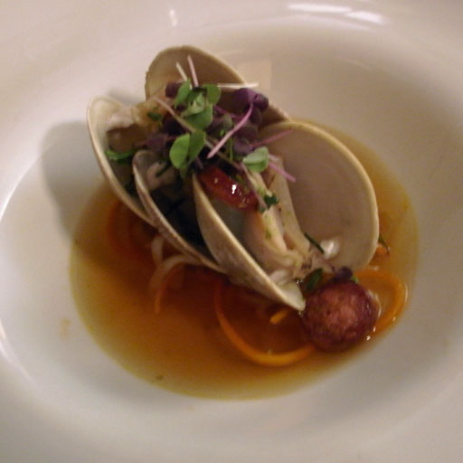 Fresh Wellfleet Clams: garlic chives, quid and vegetable noodles, Chinese sausage consumme