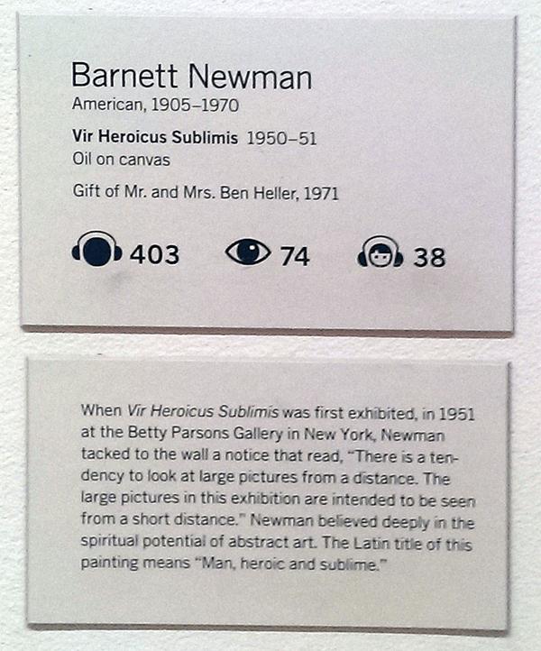 MoMA wall text next to Barnett Newman's Vir Heroicus Sublimis