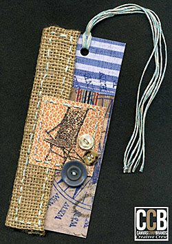 Bookmark made from paper, fabric and buttons