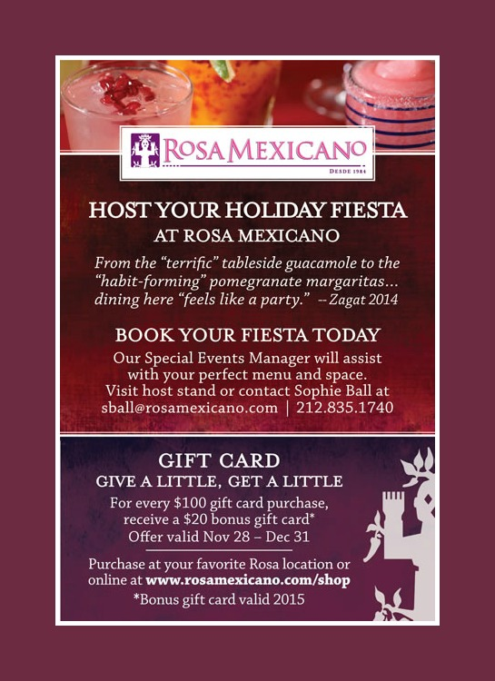 Host Your Holiday event at Rosa Mexicano