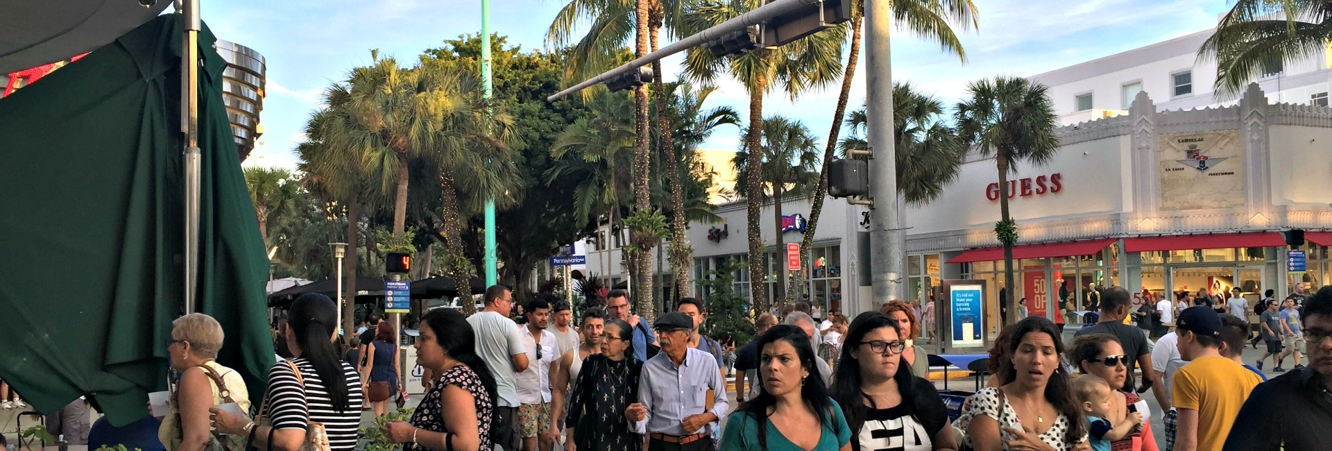 Visitors strolling on Lincoln Road
