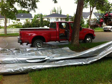 Giant tarp to cover mattresses