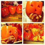 Stuffed pasta Halloween jack-o-lanterns (bell peppers)!
