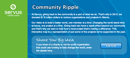 Servus Credit Union - Community Ripple online Facebook contest.