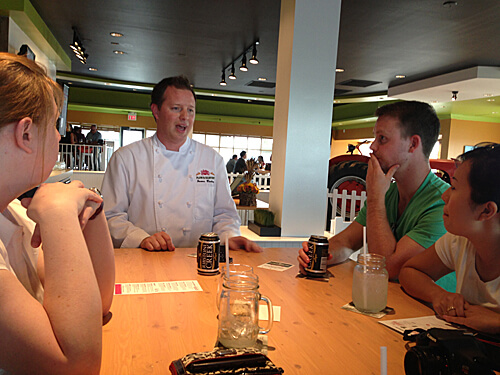 Chef James Bailey talks to our group about the Plow & Harvest concept.