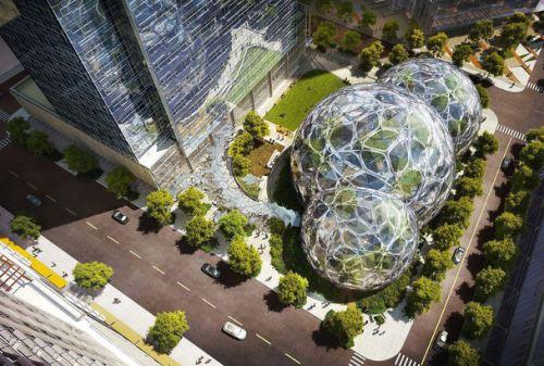 Amazon bubble building design. Photo credit: The Seattle Times (NBBJ).
