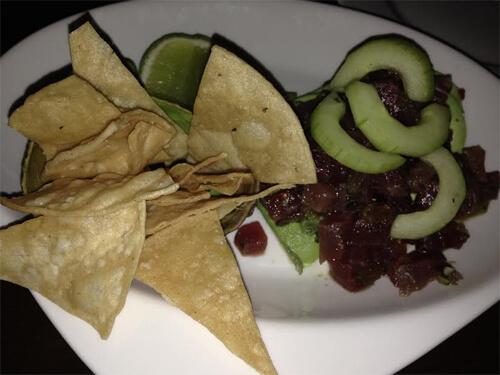Tuna Augachile (raw tuna, auguachile, lime, avocado, totopas) $16