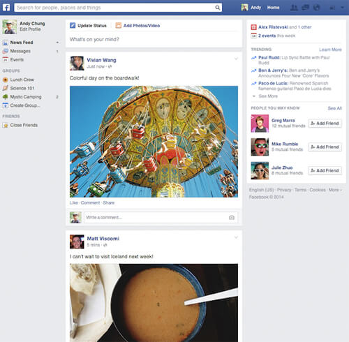 """Facebook's rolling out its """"new"""" redesign (even though I've had it for a year!) Photo credit: Mashable/Facebook"""
