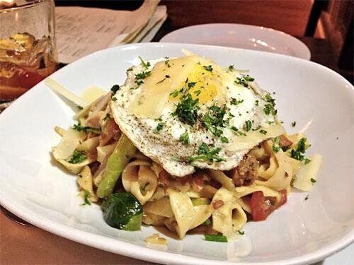 House Pasta - (daily creation) - Bacon Fettuccine, Egg ($16)