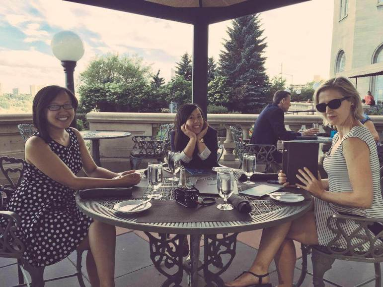 On the Fairmont Mac patio, we felt like leisurely ladies for sure!