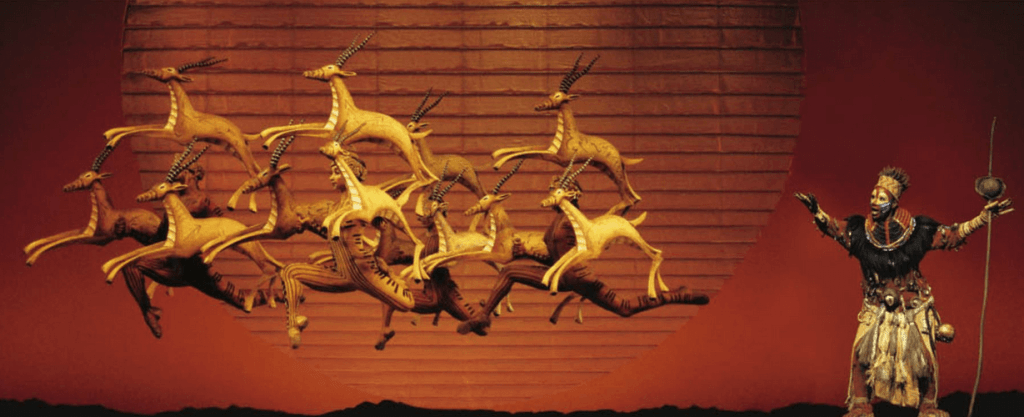 Prancing gazelle at The Lion King. Photo Credit: The Lion King Musical Facebook Page.