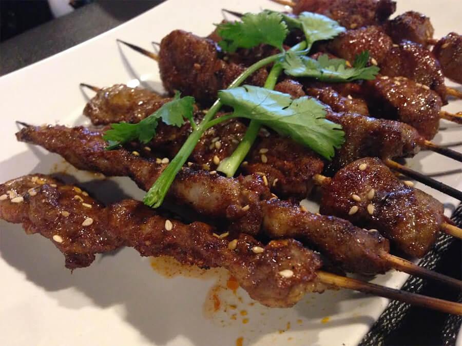 Chicken hearts kebab ($2) at LETS Grill Restaurant.