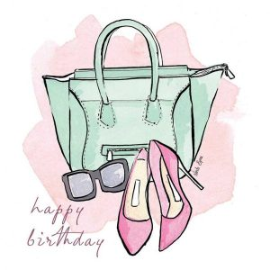 Greeting Card, Linda Byrne Illustration, Linda Byrne Fashion, Irish Made, Irish Design, Fine art print, Handbag illustration, Shoe illustration