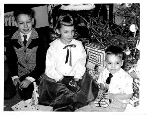 Christmas, 1957-Paul, Linda, and Billy