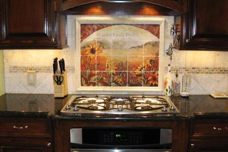 sunflowers backsplash kitchen tile ideas