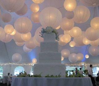 papir lanterner med lys hvite bryllup