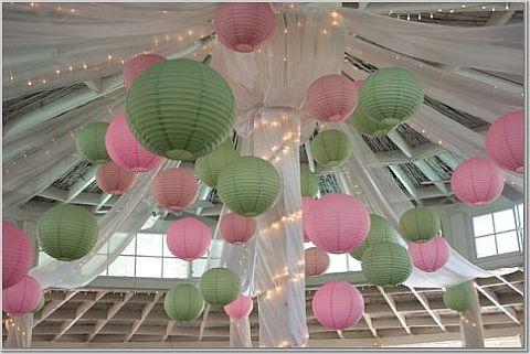 papir lanterner rosa og grønn