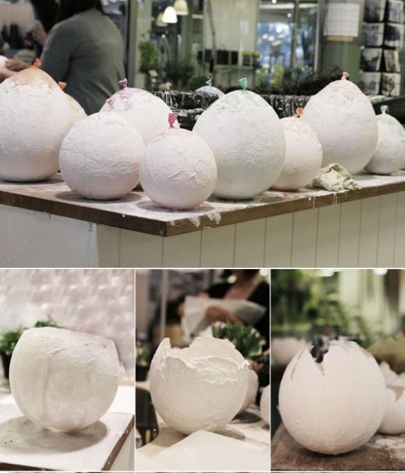 påskeegg av ballong og pappmache