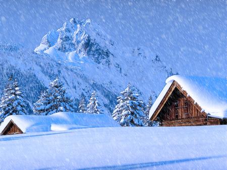 snø og hytte
