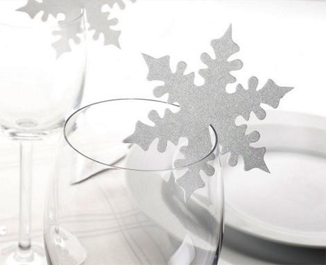 Bordkort vinglass snøflak sølv