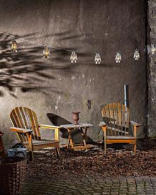 Lyslenke sølvfargede lykter LED Konstsmide miljøbilde