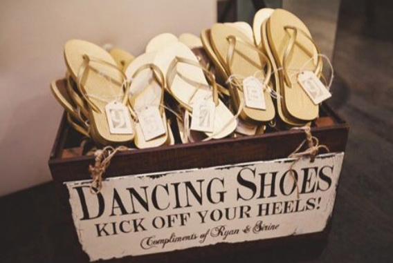 tips til bryllup selskap dansesko flip flop