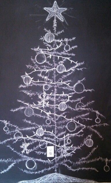Juletre på tavle wallstickers 1