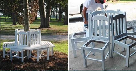 stoler blir til benk i hagen rundt et tre