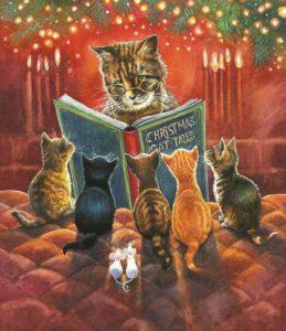 Julebilde pusekatter leser eventyr