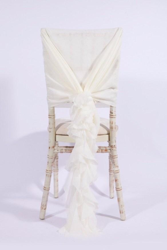 Stor dekorsløyfe til stol Creme