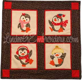 LindeeGEmbroidery Penguin Antics Applique Wall Hanging