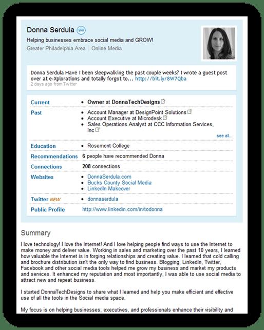 LinkedIn Profile of the past