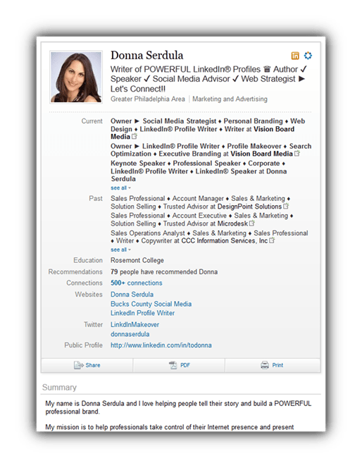 how to get bullets in linkedin profile