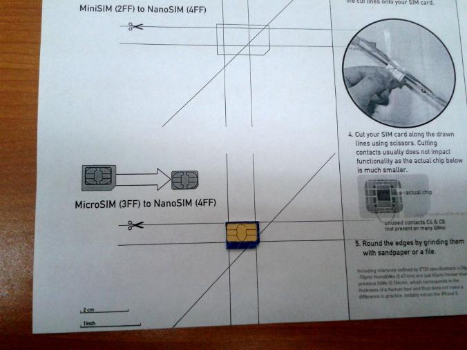 Como recortar una tarjeta SIM a NanoSIM para el iPhone5