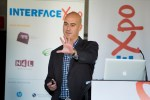 Alistair Ross presents at the Interface Expo, Auckland QBE Stadium