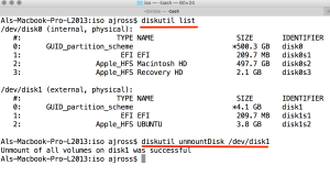 Use diskutil to list the available disks