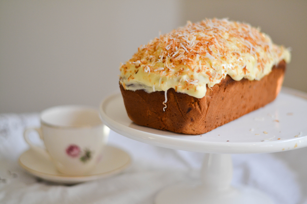 Banana & Coconut Cake with Passionfruit Icing