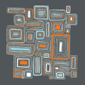 Eclectic Geometric Contrast Mosaic Squares